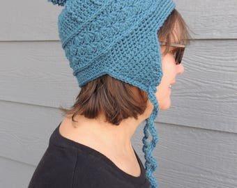 Crochet Hat, Crochet Earflap Hat, Crochet Ski Hat, Winter Hat, Child's Hat, Women's Hat, Ski Hat, Choose your Color, Baby Hat