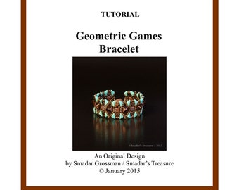 Beading Tutorial, Geometric Games Bracelet, Beading Pattern with 2 Hole Tango, Kheops Triangle, Pyramid Stud Tile Beads. Beadweaving Pattern
