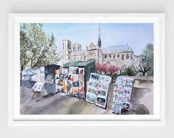 """Original watercolor,city scene painting,seine river,paris,Notre Dame,travel,les bouquistes,9.5""""x12.6"""",home decor"""