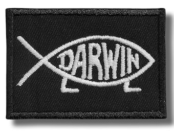 Darwin, Atheism - embroidered patch, 6x4 cm