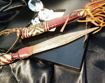 Antique West African dagger, Mandinka tribe, decorative leather, early 20th century, traditional tribal hunting knife