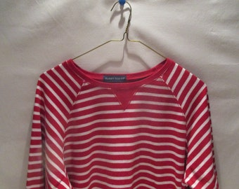 KAREN SCOTT Red & White Stripe Shirt size L