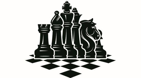 chess logo 5 chessboard pieces setup board game strategy