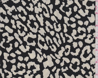 Black/Ivory Animal Print Polyester Crepe, Fabric By The Yard