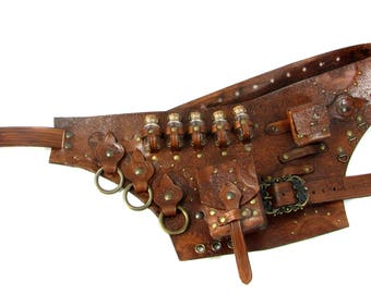 Steampunk belt hard leather with extra tasset with Glass bottles and purse