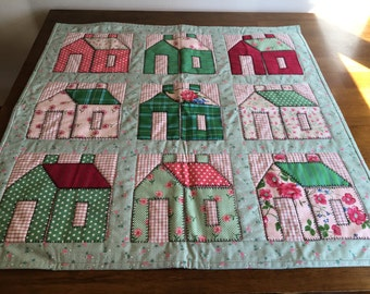 Homemade Quilt of Cottages