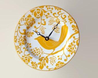 Goldenrod Bird Wall Clock, 8-1/4 Inch SILENT Mustard Yellow Ceramic Plate Wall Clock, Kitchen Clock, Unique Wall Clock, Wall Decor - 2455