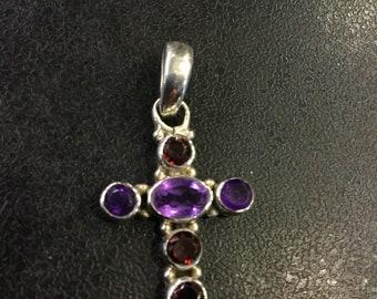 Silver amethyst and garnet cross