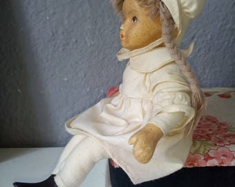 Vintage Doll hand made, Ceramic doll, textile doll
