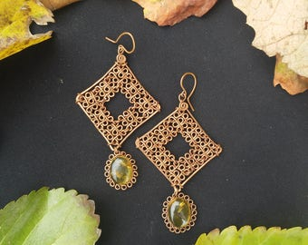 Copper Earrings with Amber
