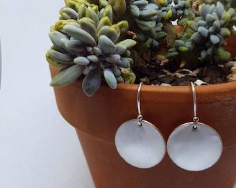 Titanium White Enamel Sterling silver Earrings