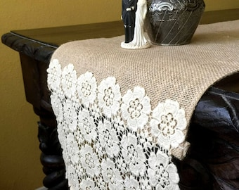 Wedding Table Runner, Burlap and Crochet Wedding Table Runner, OOAK, Wedding Decor, Burlap Table Runner, Rustic Charm