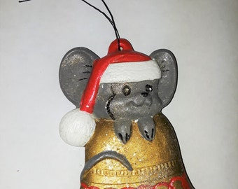 Vintage Christmas Mouse Ornament, Mice, Holiday Decor, Tree Decoration, Plaster, Gold Bell, Glitter, Santa Hat  (707-18)