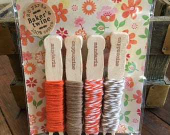 Baker's Twine Kit, bundle of four colors.  20 yards total, 100% cotton twine, made in USA.  Crafting or gift wrap.  Autumn mix pack.