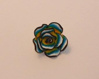 1 Pearl flower polymer blue 35x35x15mm - Ref: PF 405
