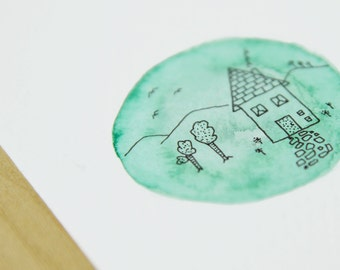 Child's dream house - original watercolor and ink illustration