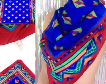 "Vtg 30"" Berkshire square scarf rainbow azted native american tribal print"