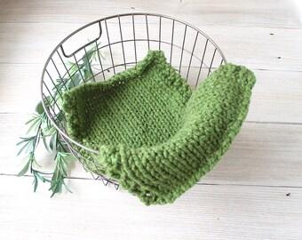 Basket Stuffer Mini Baby Blanket in Light Blue, Newborn Photo Prop, Ready to Ship