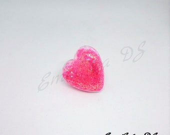 Large heart shaped ring pink glitter