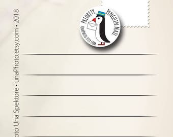 Set of 10 Prioritaire Penguin mail stickers - Postcard stickers for Postcrossing fans. Post Set