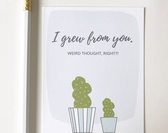 Funny Mothers Day Card. Plant mom card. Growing card for mom. Succulent mom card. Baby plant card. Card for mom.