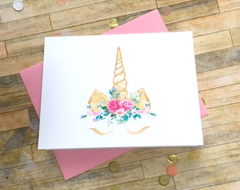 Unicorn Stationery - Folded Unicorn Note Cards - Girls Stationary - Gold Floral Unicorn - Watercolor Thank You DM771