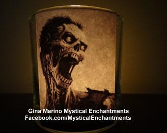 Halloween Luminary Zombie votive-tea light candle holder