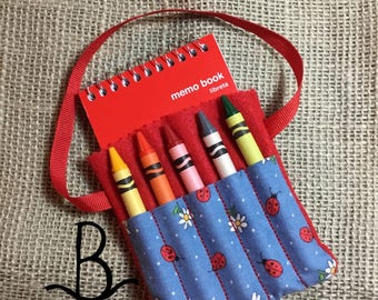 Ladybug and Flower Crayon and Notepad Holder