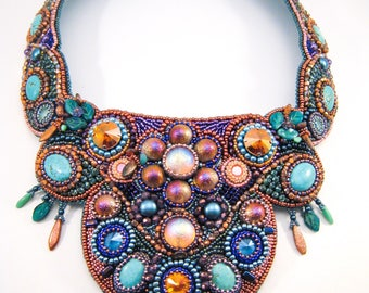 Colorful Bead Embroidery Collar, Statement Necklace with Swarovski Rivoli, Glass Beads and Semiprecious Stones, Turquoise Bib Necklace