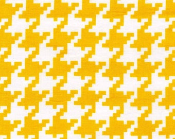 100% premium quilting cotton fabric by the yard, yellow and white houndstooth sewing cotton by Paula Prass for Michael Miller Fabrics