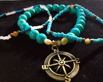 Compass Charm Turquoise Howlite Bracelet Set With Small Fresh Water Pearls