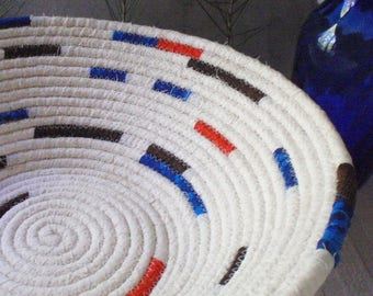 Cream, Orange, Blue and Brown Coiled Fabric Basket - - Organizer, Storage, Handmade by Me
