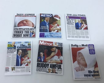 """Dolls House Miniatures -  6 x Royal newspaper covers  - Royal Baby """"Prince Louis"""" 1/12th"""
