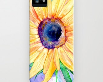 Floral iPhone 8 Case - Sunflower Watercolor Painting - Designer iPhone or Samsung Case
