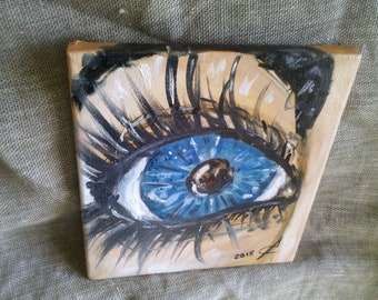 Original oil painting Handmade Eye Canvas Picture Art