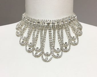 Rhinestone Bib Necklace Set, Crystal Bridal Necklace, Wedding Necklace for Bride, Prom Jewelry, Quincenera Necklace set 924-20181