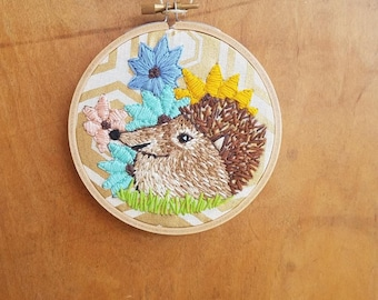 Embroidery Hoop Art Wall Hanging - Spring Hedgehog