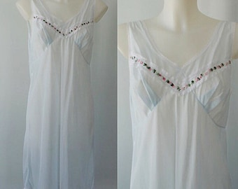 Vintage 1960s Sheer Blue Nightgown, Vintage Nightgown, 1960s Nightgown, Romantic, Sheer Nightgown, Vintage Lingerie, Slips