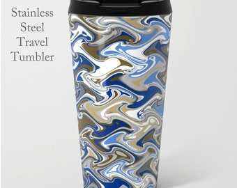 Quirky Travel Tumbler-Stainless Steel Mug-Insulated Coffee Mug-Metal Mug-15 oz Mug-Funky Coffee Mug-Insulated Travel Mug-Blue/White/Brown