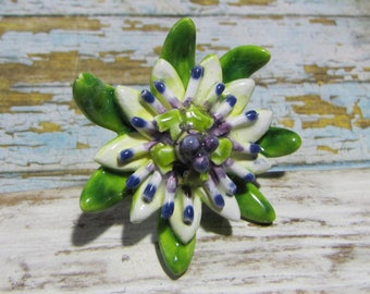 Ring Passionflower ceramic flower of passion