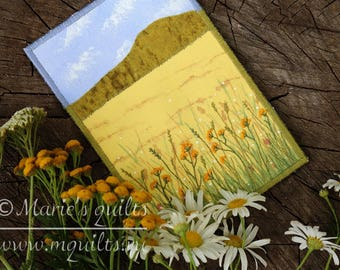 Fabric Postcard  Yellow Landscape Postcard -Quilted Postcard -Greeting Card -Wheat Field - Fiber Art - Textile Art - Embroidery - Mini Quilt