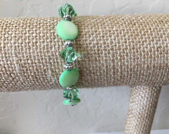 Green Crystal Bracelet, Shell Bracelet, Stretch Bracelet, Small-Med Fits 6-7 inch wrist