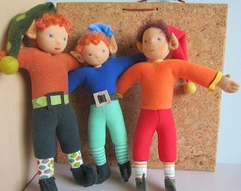 """Dwarf doll, dwarf, elf doll,  gnome doll, Spock Ears,  15"""", OOAK, Waldorf inspired, Neuborn doll,"""