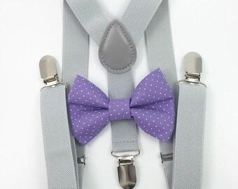 Light gray suspenders and lavender polka dot bow tie set baby boys boy teens adult family photoshoot wedding formal ring beare