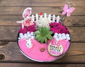 Fairy Garden, Get Well, Inspiration gift, Succulent, Fairy Garden kit, Tinkerbell, Breast Cancer gift, Get Well gift, Cancer gift, Pink