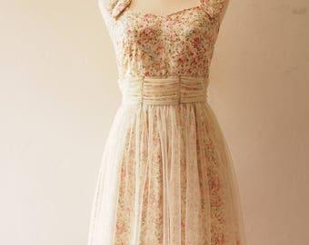 FAIRY ROMANCE - Cream White Tulle Dress A Line Party Dress Vintage Rustic Wedding Dress Vintage Floral Dress Floral Sundress -Size XS,S