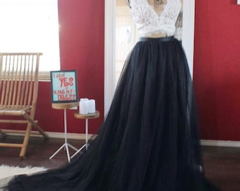 Black tulle skirt with train / boho bridal dress skirt with train / tulle wedding skirt / bridesmaids skirt / bridal removable skirt