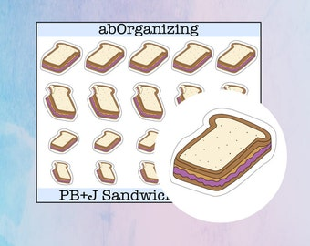 Peanut Butter and Jelly Sandwich Doodles // PB+J Doodles // Sandwich Doodles // Peanut Butter and Jelly Stickers // Hand Drawn Stickers