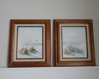 Original Seascape Oil Paintings - Set of Two Paintings - Sand Beach, Dunes, Gulls, Waves - Signed R. Weslery - Mid Century Modern Artwork