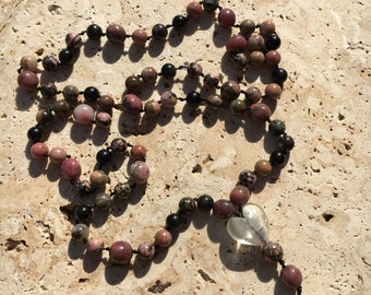 Rhodonite & Jet Knotted Bead Necklace (Handmade)